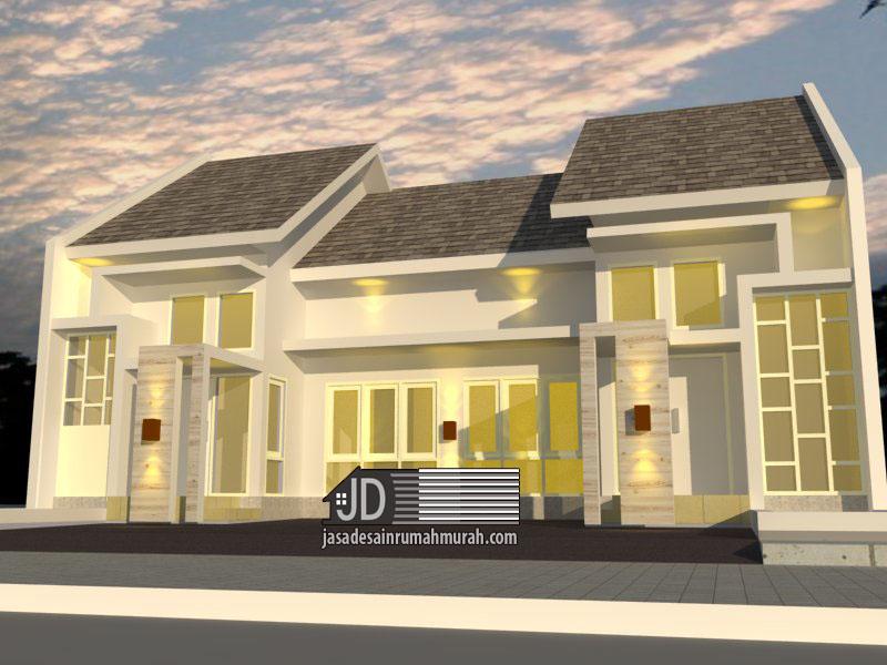 Desain Rumah Bapak Handy di Jakarta. desain rumah modern tropis 1 lantai (request 1 rumah terlihat 2 rumah)