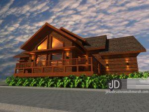 Desain rumah kayu Bapak Mahyudin