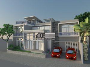 Desain Rumah Modern Kontemporer, Bapak Samsudin Sufyan di Jakarta. Luas tanah 18 m x 15 m