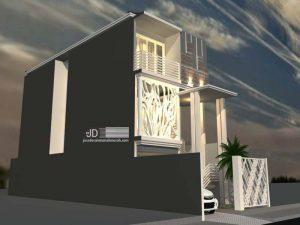Desain Rumah Minimalis 3 lantai lebar tanah 5,5 m x 20 m Bapak Muhammad Hafid di Jakarta