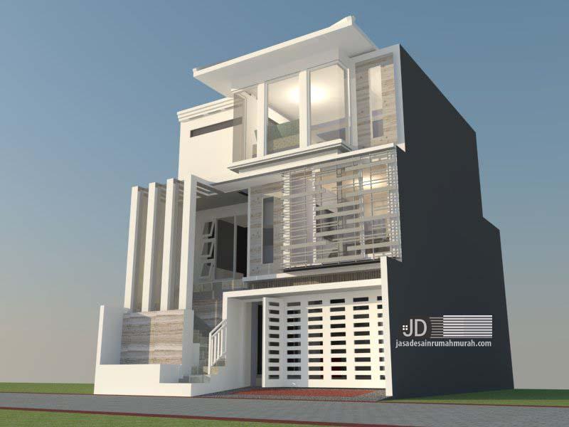 desain rumah Ibu Lulu di Malang, desain rumah modern tropis luas tanah 8x12
