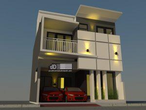 Desain Rumah minimalis modern 2 lantai Ibu Rina di Bekasi