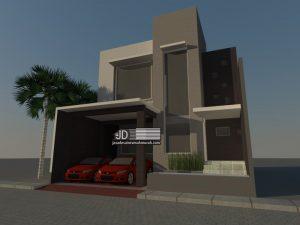 Desain Rumah Modern 2 lantai Ibu Mona di Bekasi