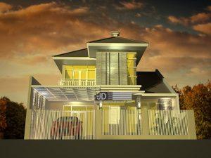 Desain rumah Modern Tropis Ibu Kris di Malang