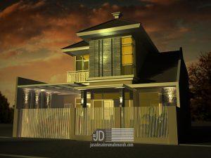 Jasa Desain Rumah Modern Tropis Ibu Enta Kris 2 Lantai di Malang