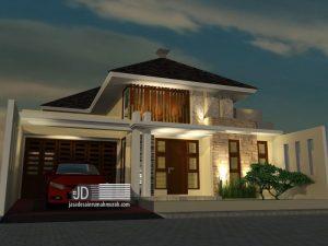 Jasa Desain Rumah Modern Tropis 1 Lantai Ibu Ratna Eva di Singosari Malang