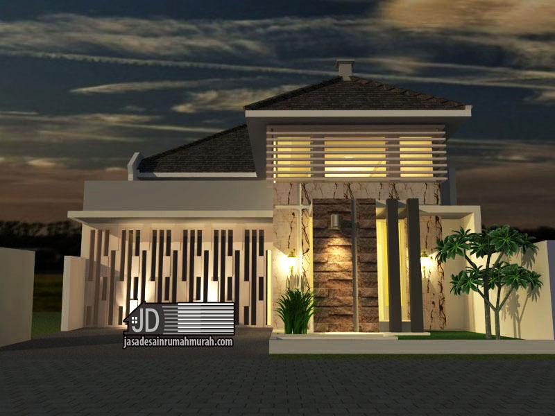 jasa desain rumah modern tropis 1 lantai ibu riti di
