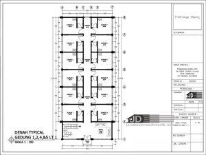 Denah Tipical Gedung Lantai 1 2 4 5 Lantai 1