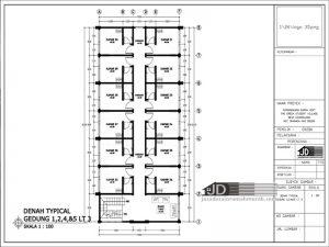 Denah Tipical Gedung Lantai 1 2 4 5 Lantai 3