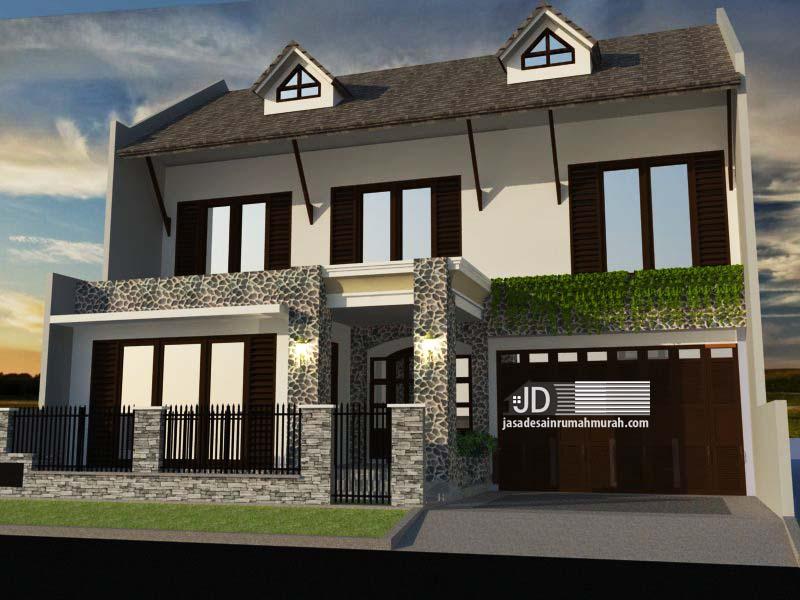 Desain rumah sederhana 2 lantai Ibu Judith Kristi di Cinere Depok
