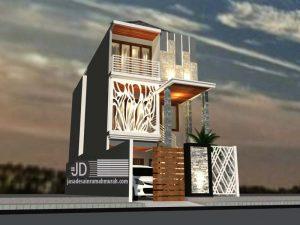 Desain Rumah Minimalis Modern Bapak Muhammad Hafid di Jakarta lebar tanah 5,5 x 20