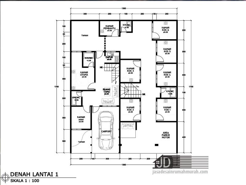 denah rumah kos lantai 1