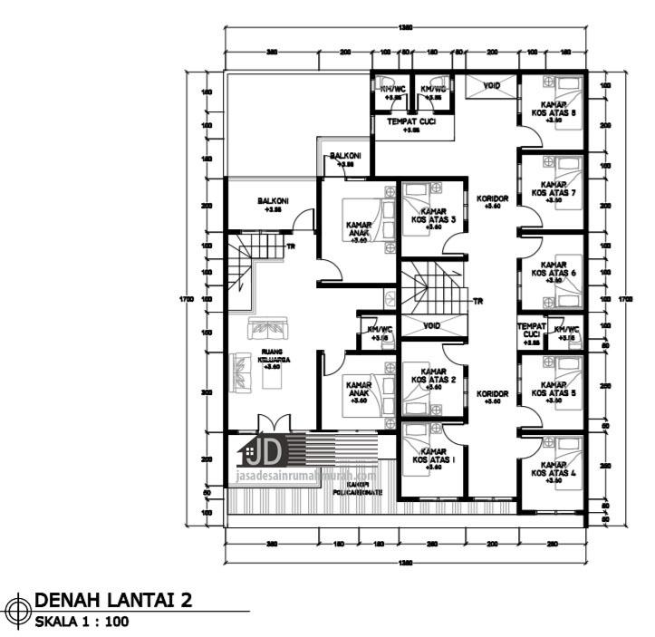 desain rumah kos 2 lantai di malang bapak didik