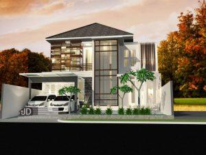Jasa Desain Rumah Modern Tropis Mewah Bapak Iskandar di Depok