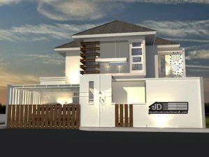 Desain Rumah Modern Tropis 2 Lantai Bapak Ibnu Alfarobi di Jakarta