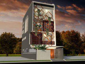 Desain Rumah Modern Kontemporer 4 Lantai Bapak Charles Hutapea di Jakarta