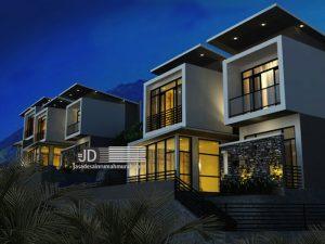 Jasa desain 3 villa tipikal 2 lantai di lahan kontur Ibu Anies Di Batu Malang