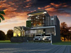 Desain Rumah Modern Tropis di Tanah 10x20 Ibu Elda Utatih Di Jakarta