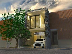 Desain Rumah Modern Kontemporer Lebar 5meter Bapak Trihartono di Jakarta