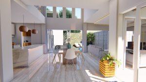 Desain Interior Dapur Bersih Dan Meja Makan